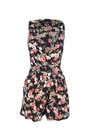 black floral print Eleanor Rose romper
