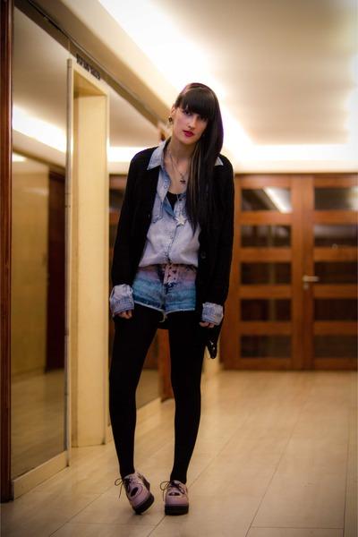 light blue gradient Topshop shorts - light pink Ebay shoes