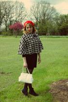 black dress - red hat - cream bag