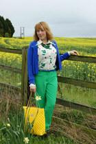yellow bag bag - navy cardigan - forest green pants