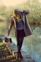 camel coat - dark brown bag - black socks