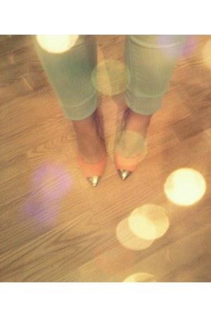 light blue denim Bershka jeans - peach Bershka heels