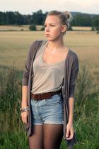 shorts - cardigan - t-shirt - belt - shoes - accessories