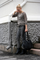bag - boots - sweater - necklace - pants