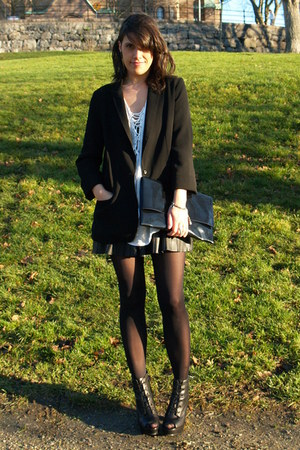 black Topshop blazer - black H&M bag - black Zara skirt