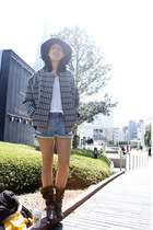 black Urban Outfitters hat - black Topshop jacket - blue H&M shorts