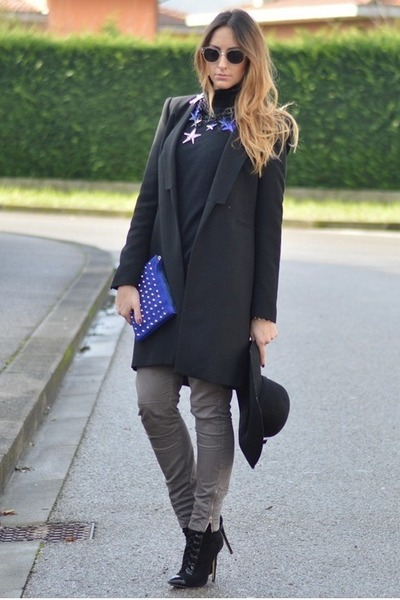 black Tally Weijl hat - black Zara coat - blue Benedetta Mariotti bag