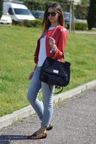 red red leather Sheinside jacket - sky blue Rifle jeans