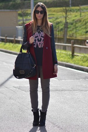 black Zara boots - maroon Sheinside coat - black Givenchy bag