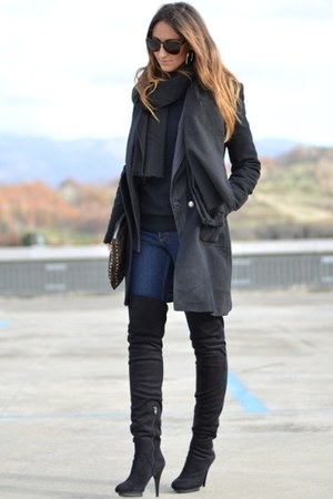 black Fornarina heels - navy Cheap Monday jeans - black H&amp;M scarf
