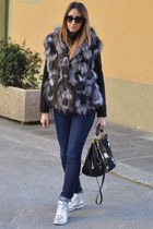 charcoal gray fur vest Landi vest - teal Cheap Monday jeans