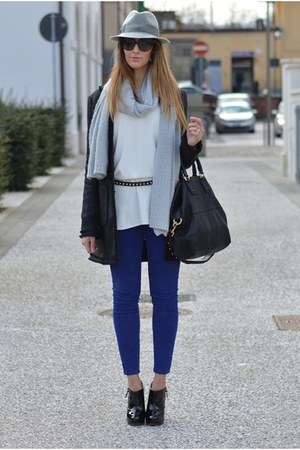 blue Zara pants - black Sheinside coat - heather gray Borsalino hat