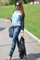 blue H&M jeans - black Rinascimento jacket - teal OASAP shirt - blue Miu Miu bag