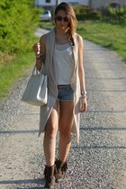 dark brown strategia boots - ivory Prada bag - teal denim True Religion shorts