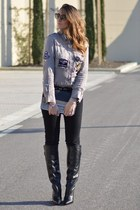dark khaki my brand shirt - black Zara boots - black H&M jeans