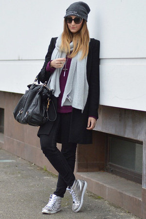 black Zara coat - heather gray H&M scarf - black Miu Miu bag