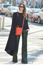 Black-long-h-m-coat-carrot-orange-mini-givenchy-bag