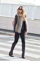 fur Sisley vest - black Zara boots - black True Religion jeans