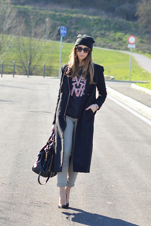 black H&M coat - black H&M hat - black Miu Miu bag