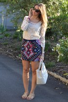 navy Zara skirt - white Prada bag - black Valentino sunglasses
