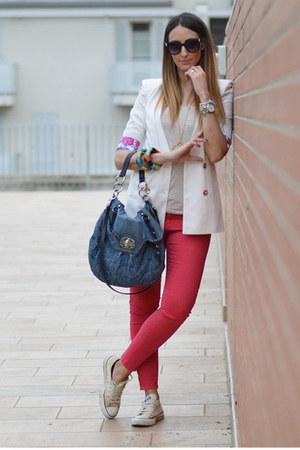 white Sheinside blazer - turquoise blue Miu Miu bag - black Primark sunglasses