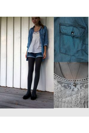 blue Zara shirt - white CPH Luxe top - black Anniel shoes - blue Levis shorts -
