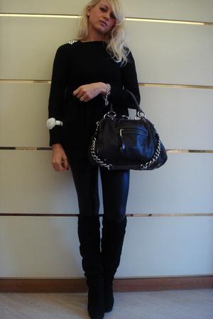 Marc Jacobs purse - Zara dress - Zara leggings - Over the knee boots