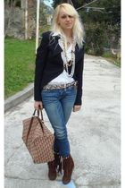 Patrizia Pepe jacket - dior purse - abercrombie and fitch jeans - Chanel necklac