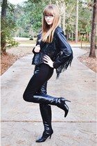 black leather black Nine West boots - black Pink Champagne Vintage jacket