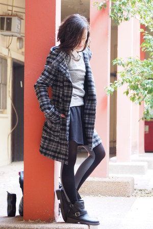 black asos boots - gray Keds tights - black Forever 21 skirt