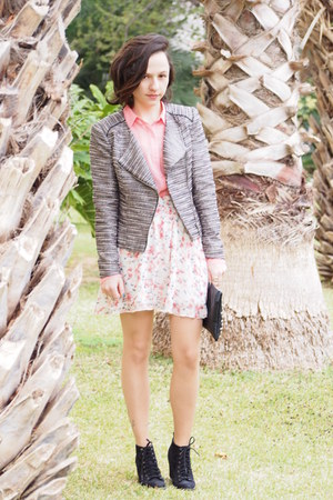 silver H&M jacket - black pull&bear boots - bubble gum Forever 21 blouse