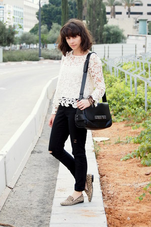 ivory pull&bear shirt - black Zara bag - black H&M pants