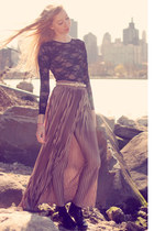 puce pleated maxi American Apparel skirt