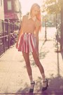 Peach-rose-tatu-blouse-red-american-apparel-skirt