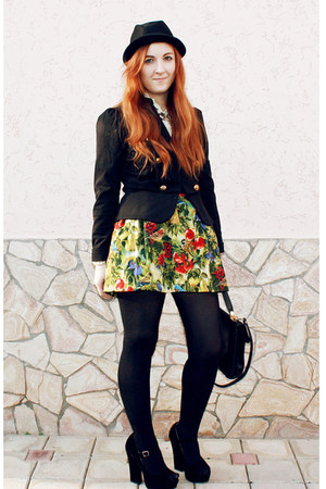 chartreuse korea skirt - black H&amp;M hat - black Atmosphere blazer