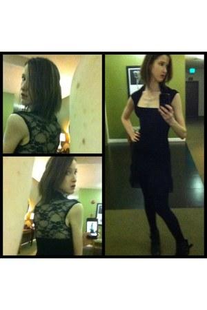 black lace MYK top - black lace XXI skirt - heart-shaped swarovski necklace