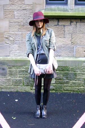 Topshop hat - asos boots - next jacket - Rebecca Minkoff bag - Topshop skirt