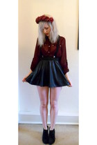 black new look skirt - Primark shirt - Ebay wedges