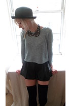 black H&M hat - black new look skirt - black Ebay stockings