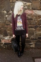 maroon Primark blazer - black romwe boots - black new look leggings