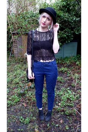 black H&amp;M hat - black H&amp;M top - black H&amp;M bra - navy Primark pants