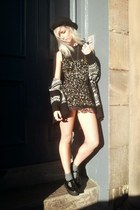black vintage dress - white Topshop coat - black bowler top hat H&M hat
