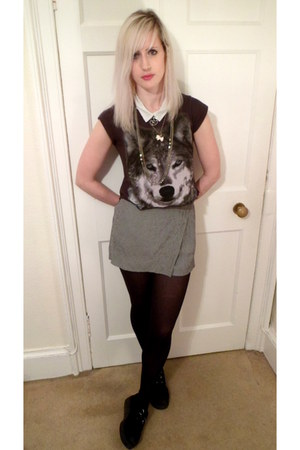gray Primark t-shirt - white H&amp;M shirt - heather gray vintage skirt