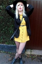 black H&M boots - yellow H&M dress - black H&M hat