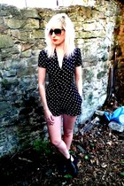 black Topshop boots - black thrifted sunglasses - navy Motel romper