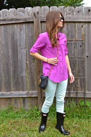 black Hunter boots - aquamarine Zara jeans - magenta silk J Crew shirt