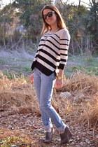 Forever 21 jeans - Forever 21 sweater - Aerie sunglasses - seychelles wedges