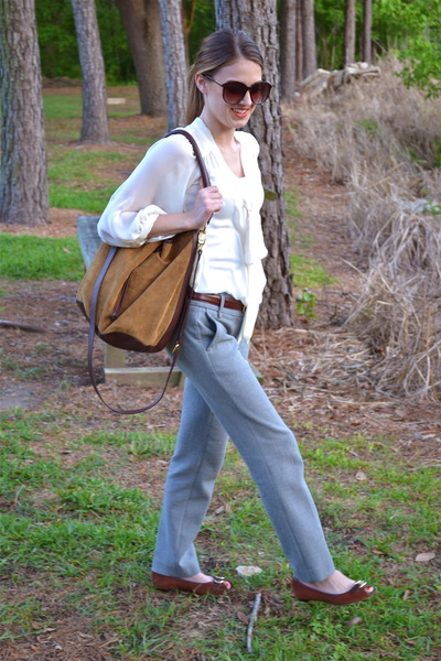tawny Target flats - tawny Zara bag - heather gray Loft pants