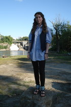 Van Heusen top - jeggings Mossimo pants - handmade vest - Express sandals
