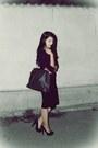Second-hand-dress-second-hand-bag-zara-cardigan-second-hand-heels